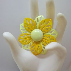 Vintage Yellow Flower Brooch